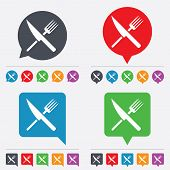 Food sign icon. Cutlery symbol. Knife and fork.