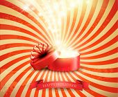 Retro Christmas holiday background with open gift box and magic light firework. Vector.