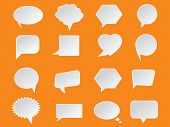 Set of White Paper Speech Bubbles on orange background. Abstract design