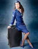 stock photo of flight attendant  - Beautiful Flight attendant sitting on trunk and smiling - JPG