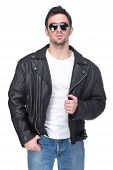 picture of grease  - Portrait of a young man in a leather jacket and sunglasses isolated on white background - JPG