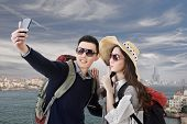 Asian couple travel and selfie in Kaohsiung, Taiwan, Asia.