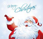 Santa Claus grabbing a snowflake.