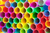 Multicolored Plastic Drinking Straws Close Up