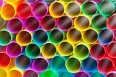 Multicoloured Plastic Drinking Straws Close Up
