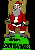 image of throne  - Santa Claus sits on throne with carpet - JPG