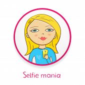 Selfie mania, beautiful girl makes selfie in mirror on , photographing herself, fashionable vector i