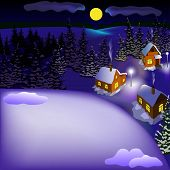 picture of snowy hill  - View of landscape of snowy town at the night from hill - JPG