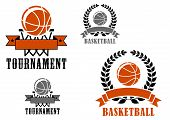 picture of basketball  - Basketball sport emblems or badges for tournaments and clubs with various balls - JPG