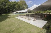 pic of mansion  - Decor Dining tables chairs outdoors tent party celebration dinner at private mansion home - JPG
