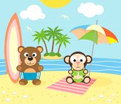picture of monkeys  - Summer background with funny bear and monkey on the beach - JPG