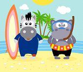 foto of hippopotamus  - Summer background with zebra and hippopotamus vector - JPG