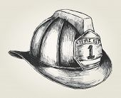 picture of firefighter  - Sketch style illustration of a firefighter helmet - JPG