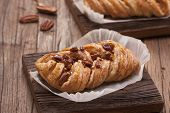 image of pecan nut  - Danish pastry maple pecan with nuts and maple syrup - JPG