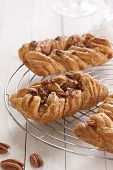 picture of pecan nut  - Danish pastry maple pecan with nuts and maple syrup - JPG