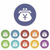 image of yen  - Yen purse web flat icon in different colors - JPG