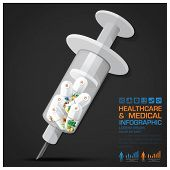 picture of syringe  - Healthcare And Medical Vitamin Pill Capsule With Syringe Infographic Vector Design Template - JPG