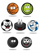 image of pool ball  - Set of cartoon sports balls characters for basketball - JPG