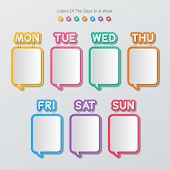 foto of staples  - paper speech bubbles stapled with names of the days in a week in flat style - JPG