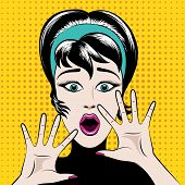 stock photo of scared  - Scared pop art woman with his mouth open and hands raised - JPG
