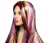 picture of colore  - Colorful Hair and Makeup - JPG
