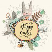 pic of butterfly flowers  - Stunning Easter card with cute Rabbit - JPG