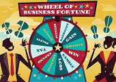 picture of money prize  - Great illustration of Retro styled Business rivals gambling their financial futures on the big spinning Wheel of Business Fortune hoping to win first place in the business world - JPG