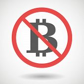 picture of bit coin  - Illustration of a forbidden signal with a bit coin sign - JPG