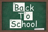 picture of periodic table elements  - Back to School Back to School written on a chalkboard with letters from the periodic table and a piece of white chalk - JPG