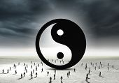image of yin  - Conceptual image with yin yang sign and silhouettes of businesspeople around - JPG