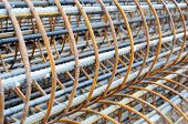 image of reinforcing  - Background of a pile of reinforcing steel bars