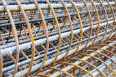 image of reinforcing  - Background of a pile of reinforcing steel bars  - JPG
