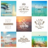 foto of typing  - Vector set of travel and vacation type emblems and symbols on a blurred backgrounds - JPG