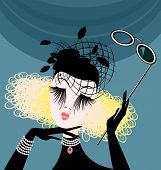 picture of mummer  - abstract womans head with the black hat and eyeglasses - JPG