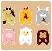 foto of kiddie  - Drawing of set of cute animals for children  - JPG