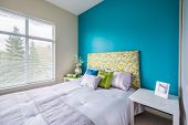pic of master bedroom  - Modern blue bedroom interior with blue - JPG