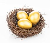stock photo of egg whites  - Three golden eggs in the nest isolated on white - JPG