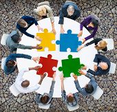 stock photo of seminar  - Business People Jigsaw Puzzle Collaboration Team Concept - JPG