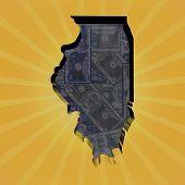 stock photo of illinois  - Illinois map on dollars sunburst illustration - JPG