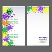 stock photo of paint spray  - Vector flyer template with spray paint on background - JPG