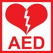 stock photo of defibrillator  - Vector of a red AED Sticker with heart shape and lightning - JPG