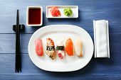 picture of chopsticks  - Sushi rolls on plate - JPG