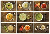 stock photo of leek  - Different variety of soup on wooden background - JPG