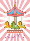 foto of merry-go-round  - Greeting card with merry - JPG