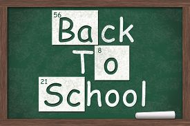 pic of periodic table elements  - Back to School Back to School written on a chalkboard with letters from the periodic table and a piece of white chalk - JPG