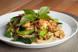 picture of lo mein  - Thai food shrimp stir fry with lo mein noodles Shallow depth of field - JPG
