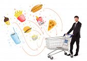 foto of junk  - Businessman pushing a shopping cart and toxic junk food and cigarettes coming out of it - JPG