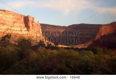 Picture or Photo of Sunset in ruby canyon west of grand junction, colorado on amtrak, modified in photoshop, painterly image