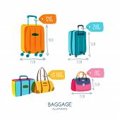 Baggage Allowance Isolated Vector Icons. Multicolor Luggage, Suitcase, Bags With Tags And Labels. poster