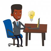 African-american man having a business idea. Young businessman working on laptop on a new business i poster